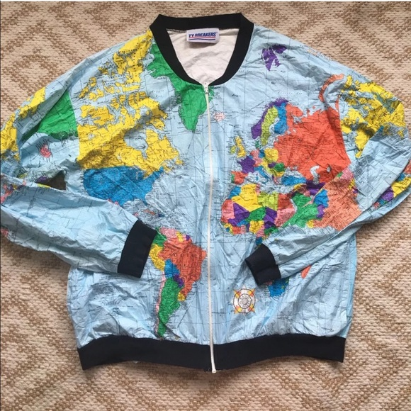 Tybreakers • Vintage World Map Bomber Jacket Large